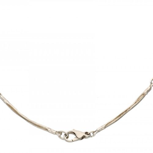 Silver matted design necklace set with approx. 0.05 ct. Diamond 925/1000. Poinço…