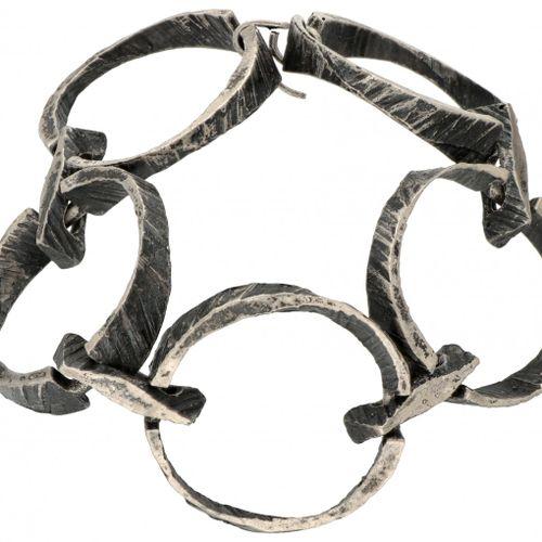Silver Sten & Laine modernist bracelet 835/1000. Poinçons : Marque Sten & Laine,…