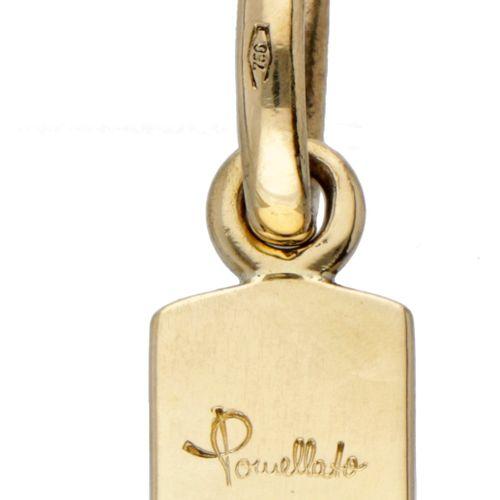 18K. Yellow gold cross shaped Pomellato pendant. Des poinçons : * 469 MI, 750, P…
