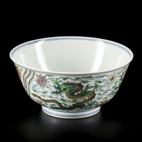 A porcelain ducai bowl decorated with phoenixes and dragons, marked Yongzheng, C…