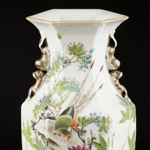 A porcelain Qiangjiang Cai vase with decoration of flowers and birds, China, lat…