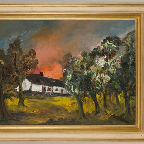 Paul Permeke (Sidford, Devon 1918 – 1990 Brugge), A farmyard in a wooded landsca…