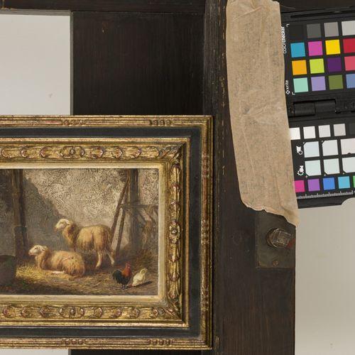 Louwerencius Plas (Alkmaar 1828 1888 Amsterdam), Scheap in a stable. Signé (en b…