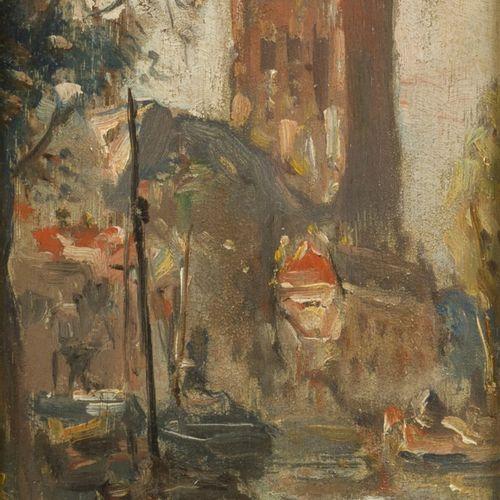 Dutch School, 20th C. The inner harbour of Dordrecht. Huile sur panneau. Dim. 15…