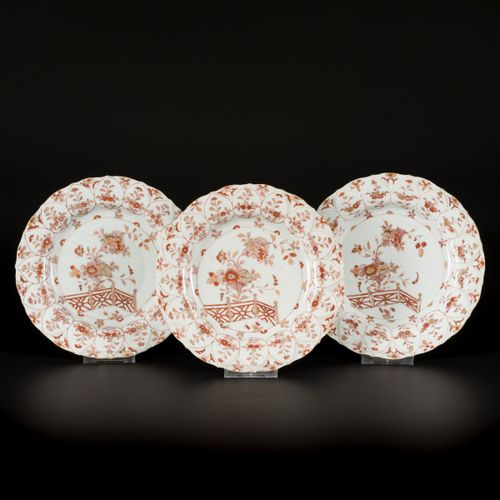 A set of (3) Iron Red Plates with scalloped rim and floral decoration in compart…