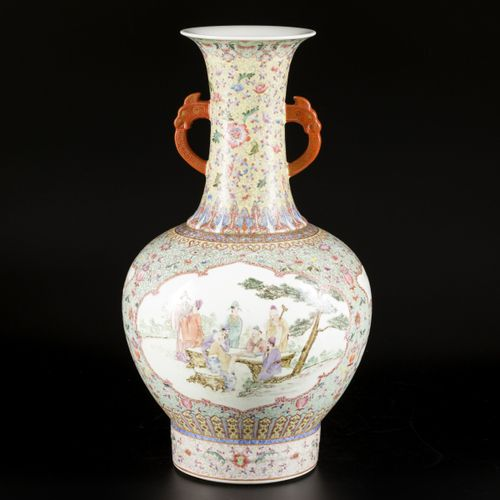 A porcelain famille rose vase with figures in a garden, marked Qianglong, China,…