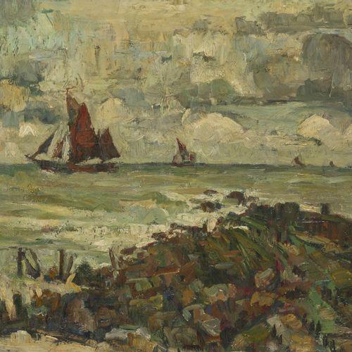"Fishing vessels off the coast of Zeeland(?), The Netherlands. 签名(右下):""Th.Goedvri…"