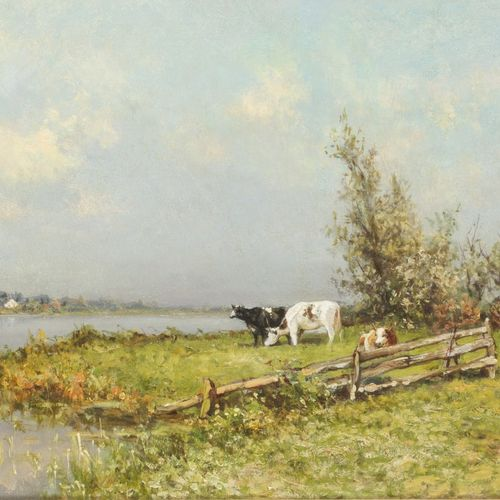 "Pieter Adriaan C. ""Piet"" Schipperus (Rotterdam 1840 1929 The Hague), Cows on the…"