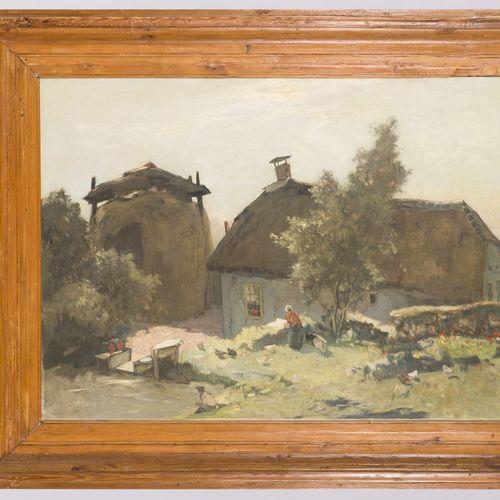 Ype Heerke Wenning (Leeuwarden 1879 1959 Wassenaar), A farmyard in a landscape. …
