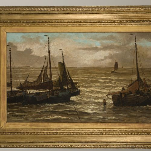 Attributed to H.W. Mesdag (Groningen 1831 1915 The Hague), Fishing Smacks riding…