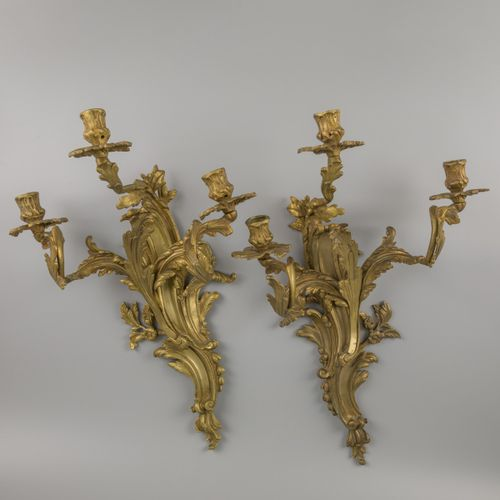 A set of (2) bronze symmetrical wall candelabra in rococo style, France, ca. 190…