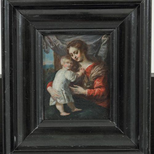 Flemmish School, ca. 1800. Madonna and child. 铜上油彩。Dim.10,5 x 8 cm.估计:60 80欧元。