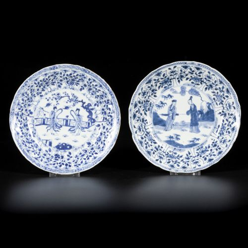 A lot comprised of (2) porcelain plates with figures decoration, China, Kangxi/Y…