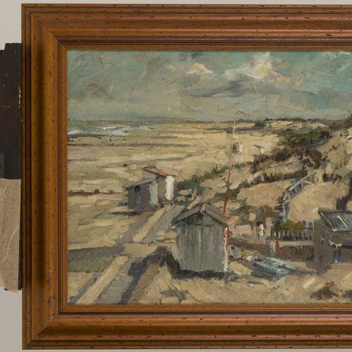 "Dutch School, 20th century, Setting up the beach huts. Signé ""Dacosta"" ( ?) en b…"