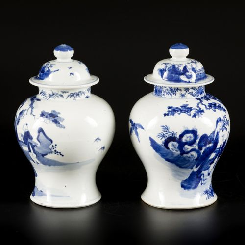 A set of (2) porcelain lidded vases with figurative decoration, China, 19th cent…