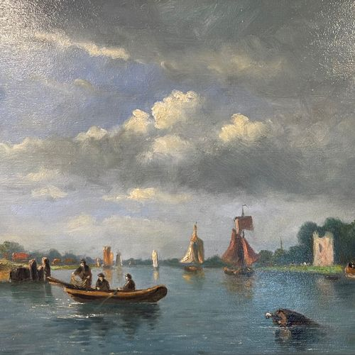 François Carlebur of Dordrecht (1821 1893) (attributed to), Shipping on a river …