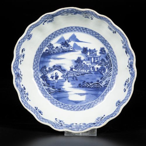 A porcelain deep bowl, scene of landscape with buffalo and figures, China, 18th …