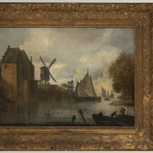 Dutch , School 17th. C. . Fishermen in a moat near a fortified city gate. 布面油画。D…