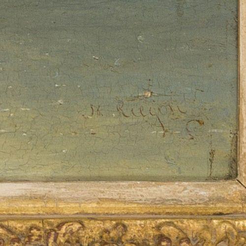 Nicolaas Riegen (Amsterdam 1827 1889), Shipping on a calm. 有签名(右下角),油画板。Dim.25 x…