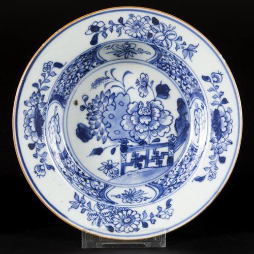 A lot comprising (3) porcelain porridge plates with floral decoration, China, Qi…