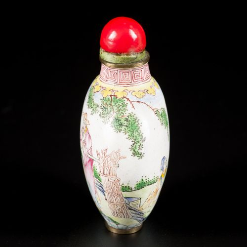 An enamel snuff bottle decorated with figures in a landscape, China, 1st half 20…