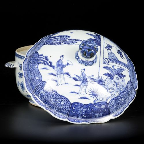 A porcelain tureen with cover, with floral and figure decoration, China, 18th ce…
