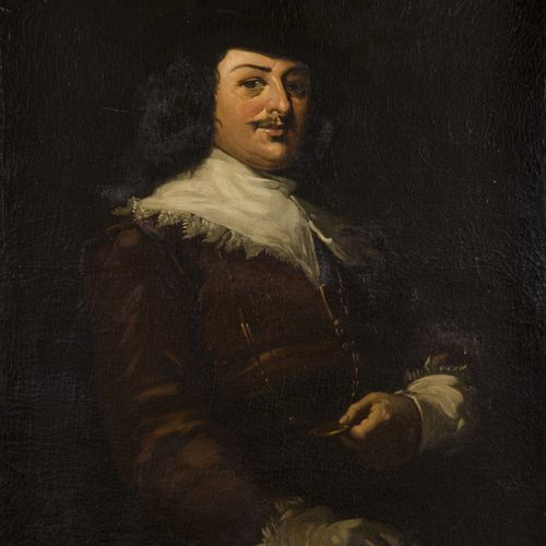 Dutch School, 19th C. Portrait of a gentleman, standing half length presenting a…