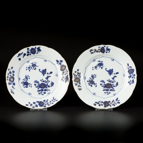 A set of (6) porcelain plates with floral decoration enhanced with gold, China, …