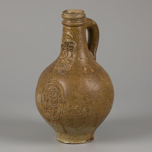 A bartmann/ 'Bartmann' stoneware jug with tiger salt glaze, (Cologne/ Frechen), …