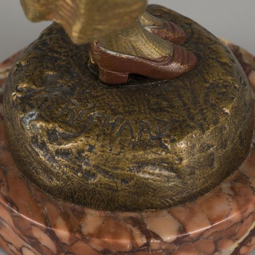 R. Richard (XIX XX), A bronze statuette of gypsy girl/ gitane with a guitar on h…