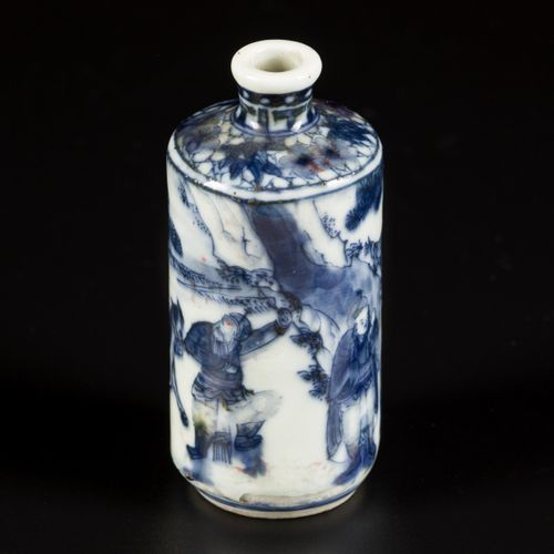 A porcelain iron red snuff bottle decorated with street artists, China, 19th cen…