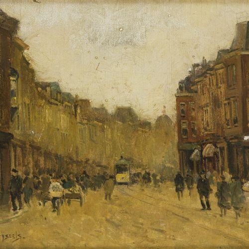 Leo Grijseels (1884 1966), A streetscene with a tram, The Hague. Signé (en bas à…