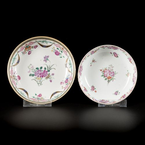 A lot comprising various cups and saucers with floral decoration, China, 18th ce…