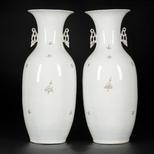 A set of (2) porcelain Qianjiang Cai vases with decor of birds on blossom branch…