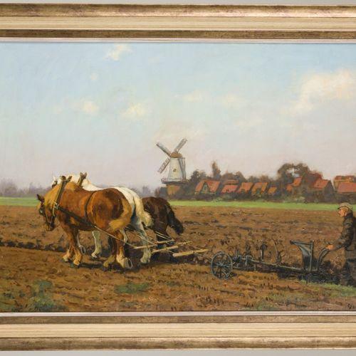 Gijsbertus Johannes van Overbeek (Dordrecht 1882 1947 Rotterdam), A farmer ploug…