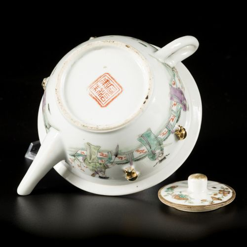 A porcelain Qiangjiang Cai teapot with a decoration of sages in a garden, China,…