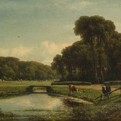 Johannes Gijsbert Vogel (Hooge Zwaluwe 1828 – 1915 Velp), A cow herd with cattle…