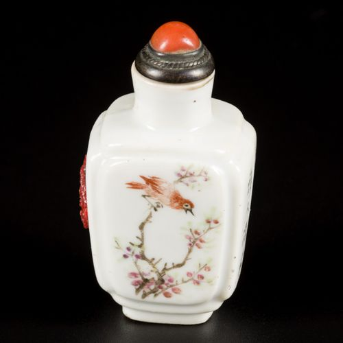 A porcelain qianjiang cai snuff bottle decorated with mountain scenery and a bir…