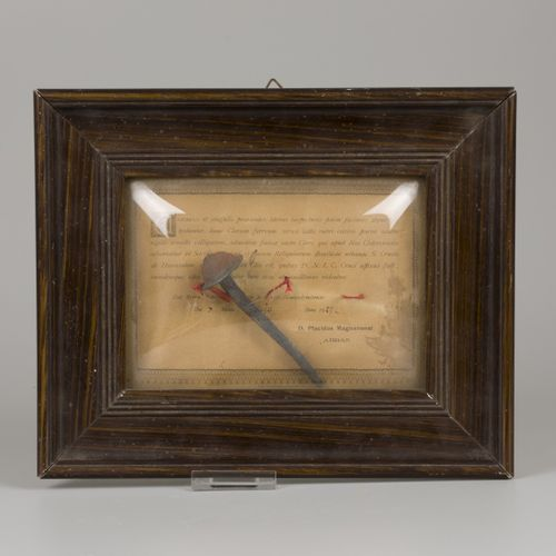 A relic of the crucifixion of Christ (iron nail), with certificate (dated 1925).…