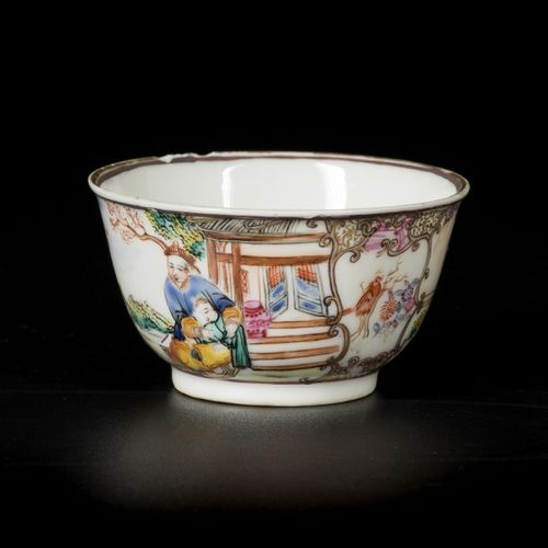 A lot comprised of (4) various porcelain famille rose bowls, three with decor of…