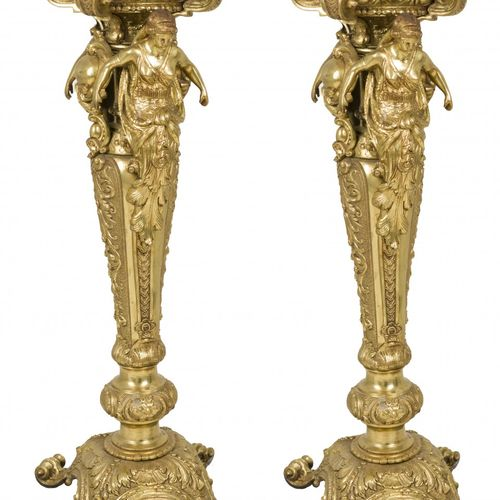 A set of (2) identical bronze pedestals with marble top, France, 20th century. M…