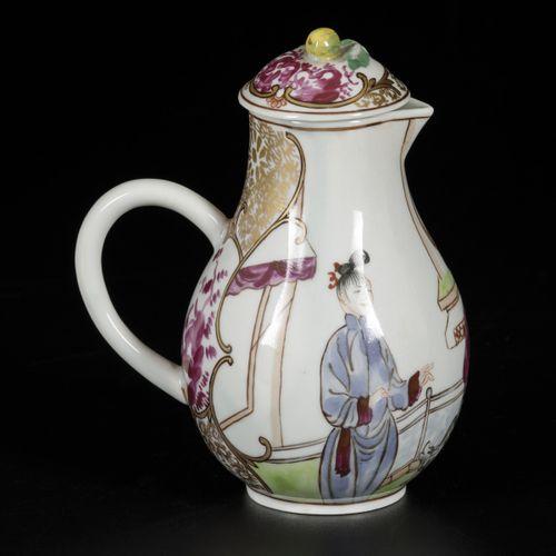 A porcelain chocolate pitcher with Mandarin decorations, Samson, Paris, 19th cen…