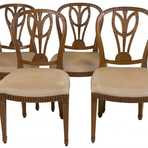A set of (4) mahogany Louis XVI chairs, Dutch, late 19th century. Le dosseret aj…
