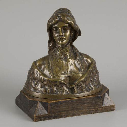 """""""S. Blanc"""". A bronze buste of a lady in traditional dress, 1st half 20th century…"""