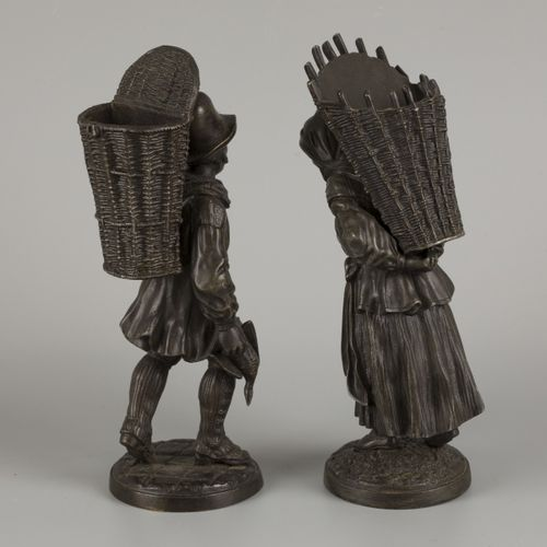 A set of (2) bronze statuettes of a duck merchant and a wood gatherer, 20th cent…