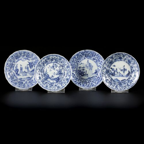 """A set of (4) porcelain cups and saucers with """"Long Eliza"""" decoration, China, 18t…"""