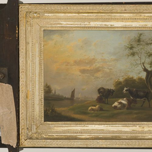 School of Dordrecht, 19th. C.. A cowherd with cattle on a riverbank. 未上色,板上油彩。Di…