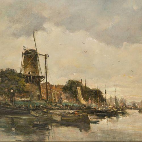 """Piet in 't Hout (Den Haag 1879 1965), View of the """"Nieuwe Haven"""", Schiedam, with…"""