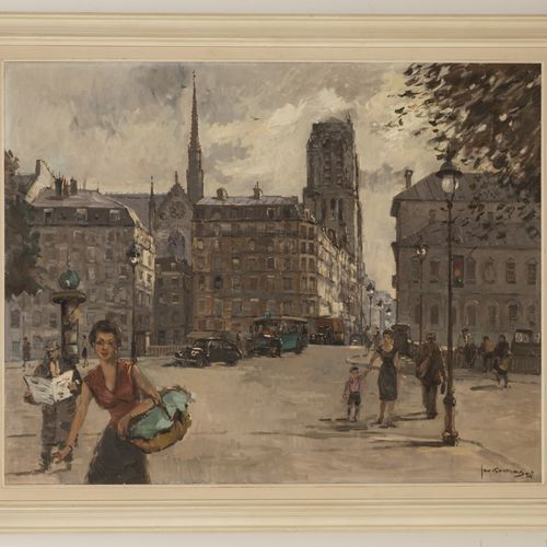 Jan Korthals (Amsterdam 1916 1972), View of Paris with the Nôtre Dame towering s…