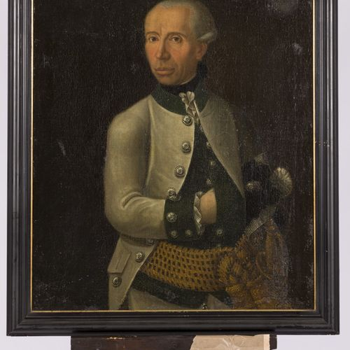 German School, 18th Century, Portrait of an officer. Avec le chrest de la famill…
